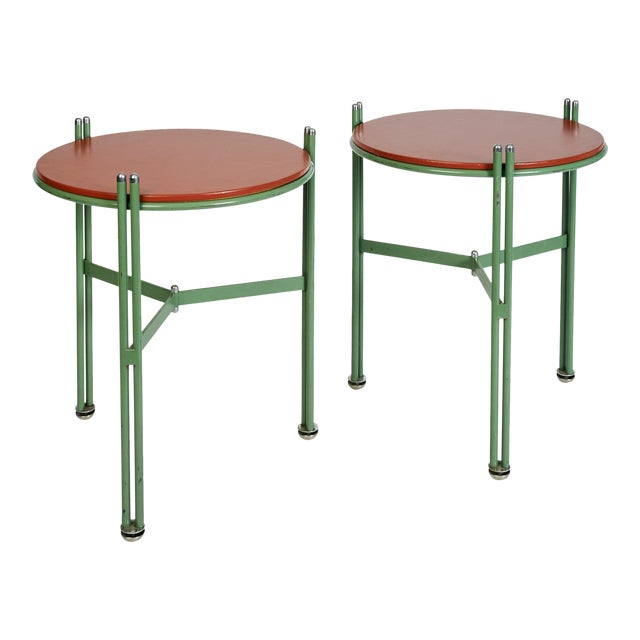 german 1950s bauhaus green enameled and red leather side tables a pair - Leather Side Tables