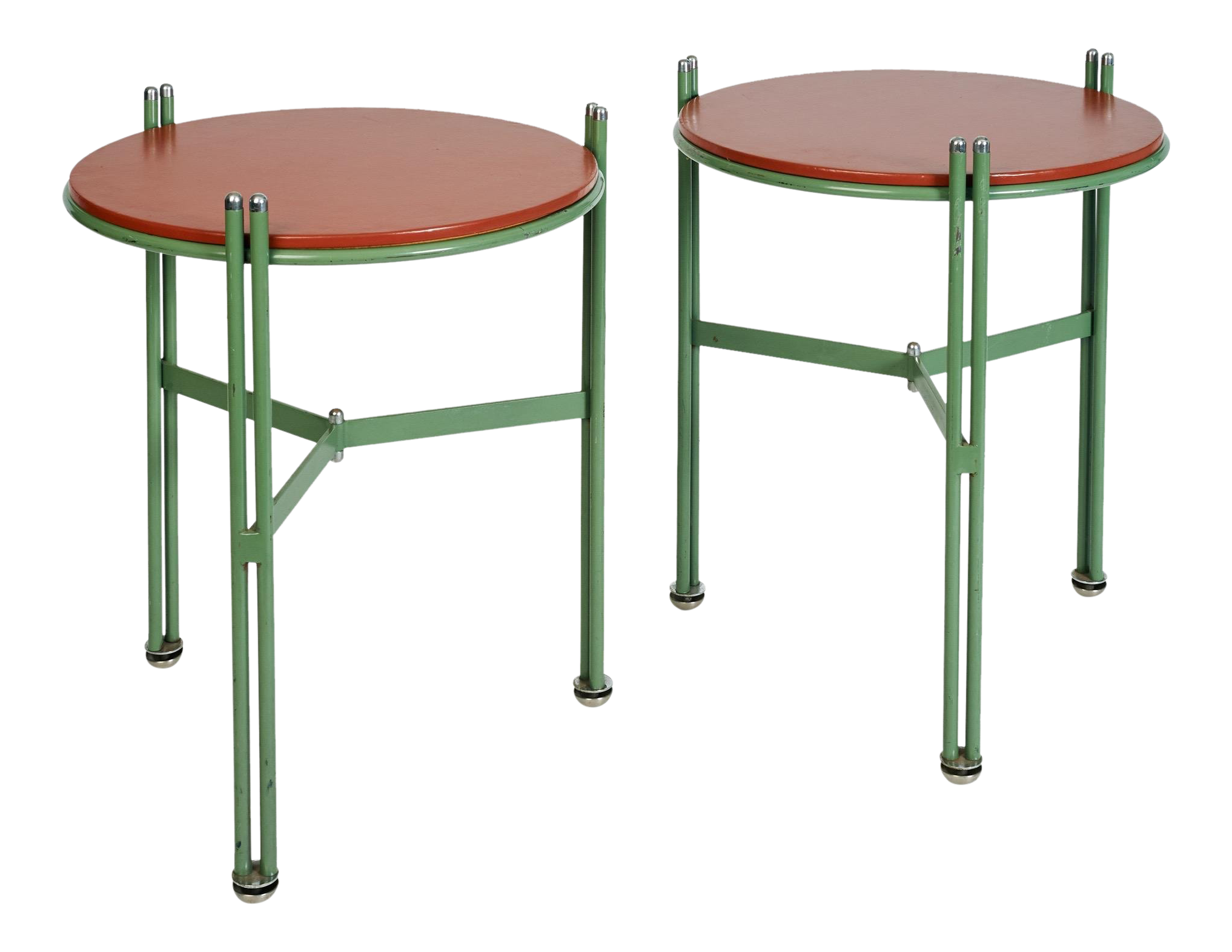 German 1950s Bauhaus Green Enameled And Red Leather Side Tables   A Pair |  Chairish