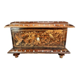 Antique Wood and Bone Inlay Bird Box For Sale