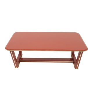 French Brass-Trimmed Makore Coffee Table, Manner of Maxime Old Preview