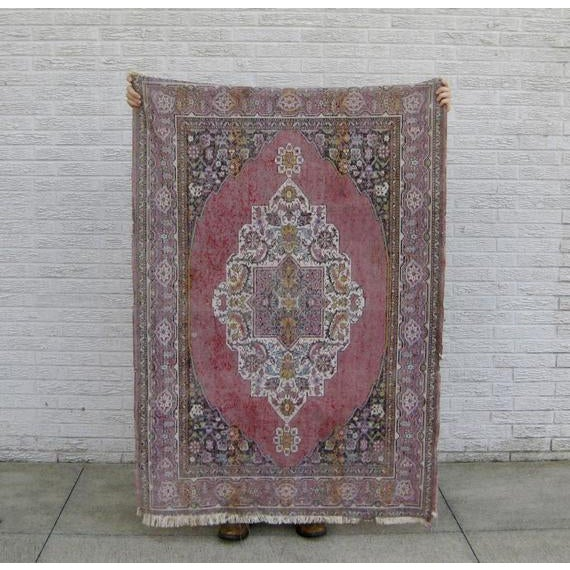Red 1950s Vintage Handwoven Turkish Anatolian Rug - 5′6″ × 3′9″ For Sale - Image 8 of 10