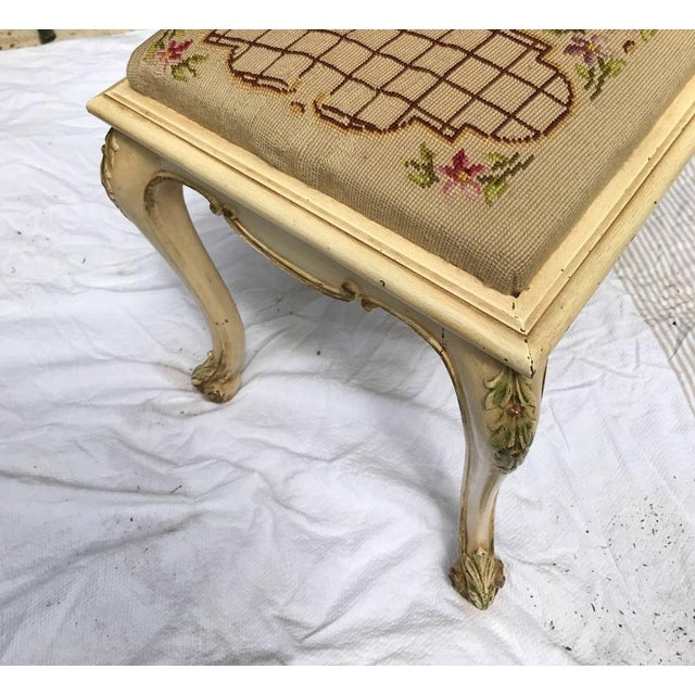 Vintage French Provincial Bench with Needlepoint Fabric For Sale - Image 5 of 9