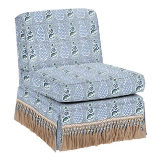 Virginia Kraft for Casa Cosima Skirted Slipper Chair, Jangle Supreem, Blues For Sale