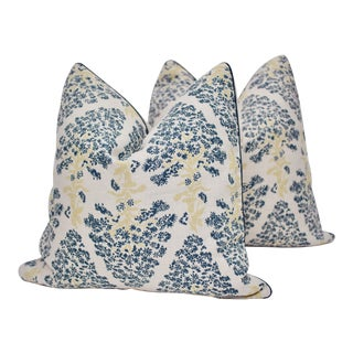 """Lake August """"Brink of Summer"""" 20"""" Square Hand Printed Linen Pillows - a Pair For Sale"""