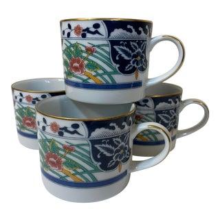 1990s Gumps Asian Design Porcelain Mugs - Set of 4 For Sale