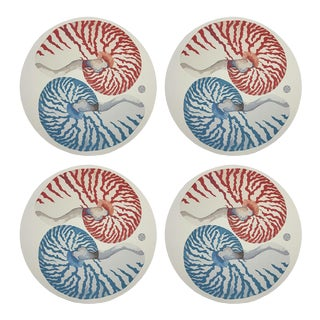 """Nautilus Coral Tuqoise, 16"""" Round Pebble Placemats, Set of 4 For Sale"""
