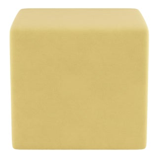 Cube Ottoman in Canary Velvet For Sale