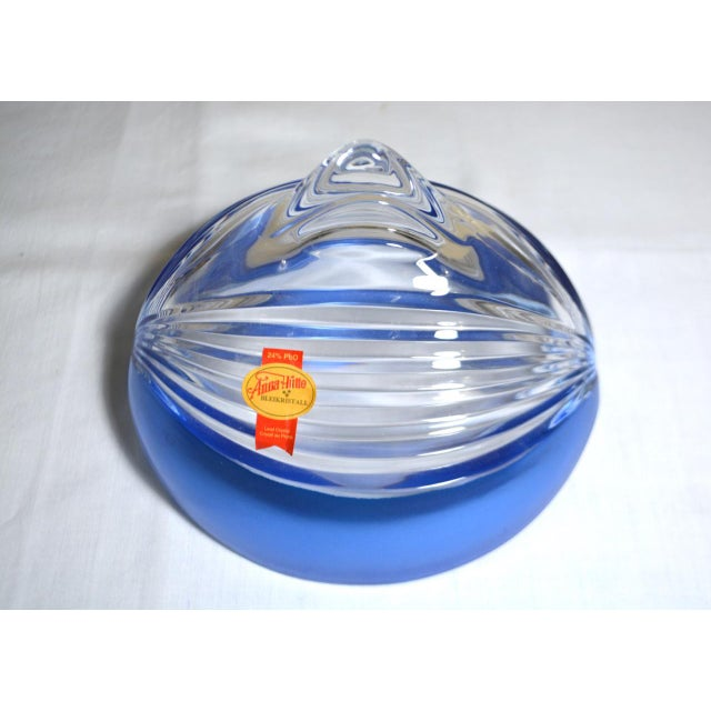 Blue 1980s Abstract Anna Hutte Modern Art Glass Bkeikristal Blue & Clear Glass Bowl For Sale - Image 8 of 11
