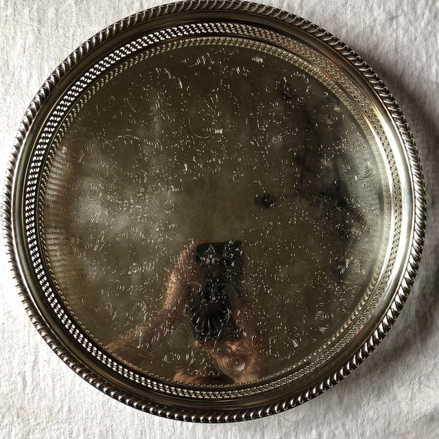 F.B. Rogers Silver Co. Wm Rogers Silver-Plated Round Pierced Gallery Tray For Sale - Image 4 of 11