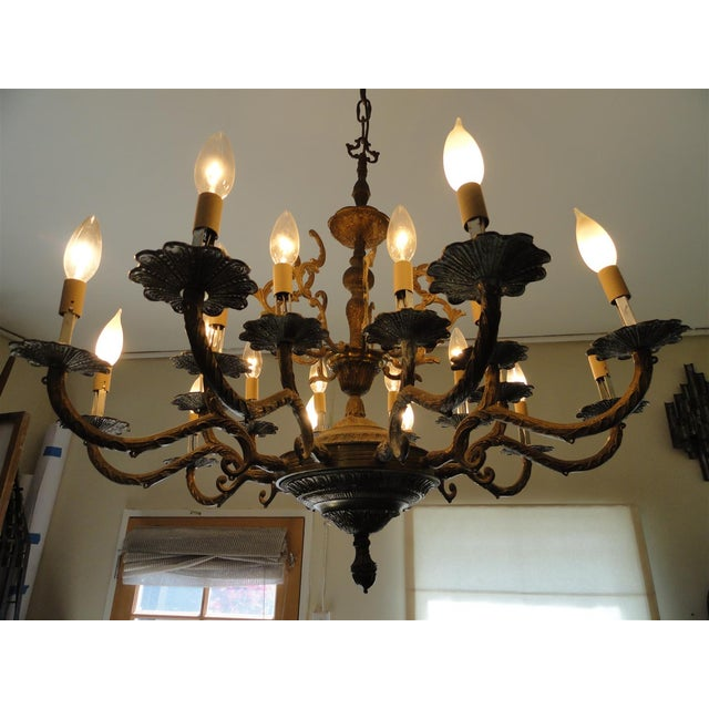 Antique Decorative Ten-Arm Brass Chandelier For Sale In Los Angeles - Image 6 of 11