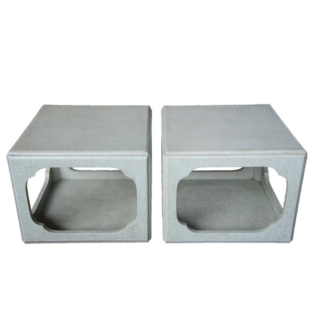 1980s Baker Chinese Form Celadon Boho Chic Green Craquelure End Tables - a Pair For Sale - Image 13 of 13