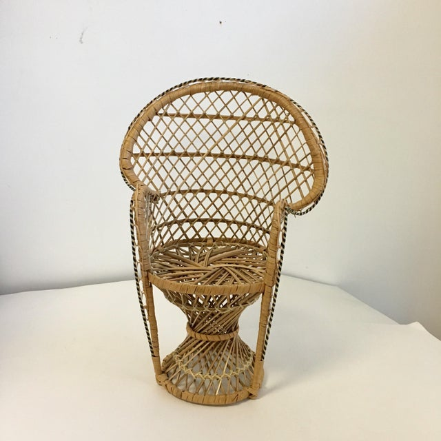 Boho Chic Vintage Boho Wicker Chair Plant Stands - A Pair For Sale - Image 3 of 7