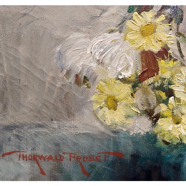 "Thorwald Albert Probst ""Flowers of Fall"" Still Life Oil Panting C.1910s For Sale In Los Angeles - Image 6 of 11"