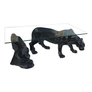 Monumental Mid-Century Modern Black Panther Centre Table or Console Table