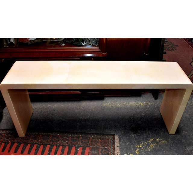 Waterfall Parchment Console Table For Sale - Image 4 of 12