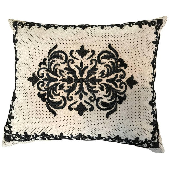 Chic Sand and Black Ultra Suede Heavily Embroidered Decorative Pillow For Sale In Palm Springs - Image 6 of 6