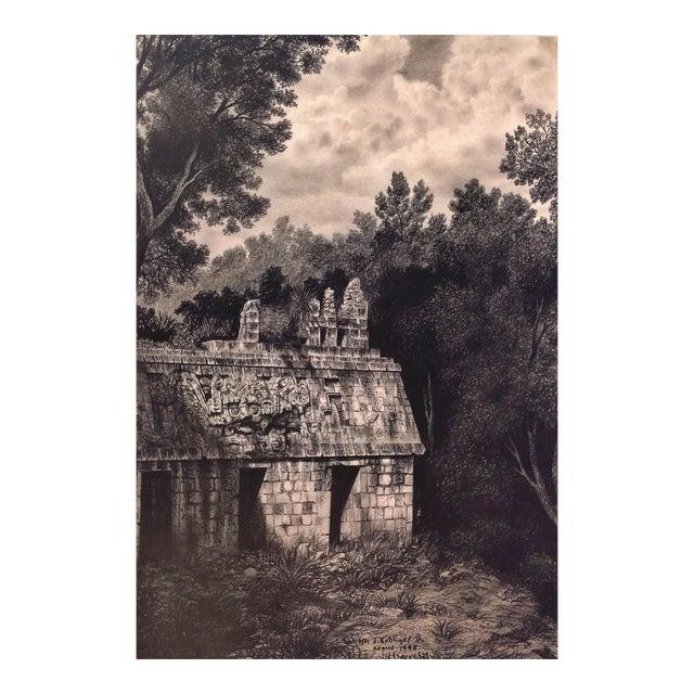 """Illustration of Mayan Ruins, """"Habitat Maya No.8"""" For Sale"""