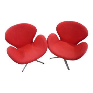 Vintage Mid-Century Modern Red Upholstered Swivel Swan Chairs- a Pair For Sale