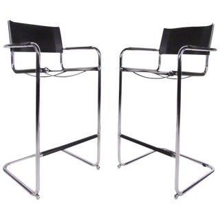 Mid-Century Chrome & Leather Cantilever Bar Stools For Sale