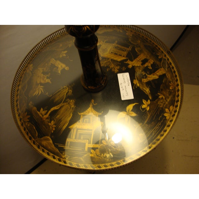 Chinoiserie Black & Gold Decorated Tray Table Stick Floor Lamp - Image 3 of 10