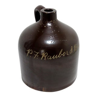 Antique Lyons New York Brown Slip Stoneware Whiskey Jug For Sale