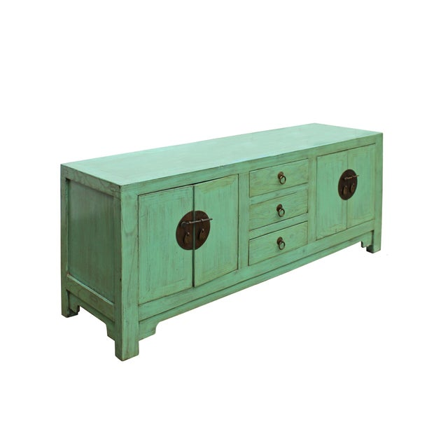 Blue Distressed Teal Blue Wood Pattern Low Console Table Cabinet For Sale - Image 8 of 9