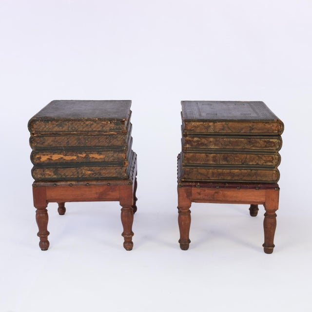 French Faux Book Box End Tables on Turned Fruitwood Legs, Circa 1880 - a Pair For Sale - Image 4 of 9