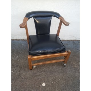 1960s Brandt Ranch Oak and Black Leather Side Chairs - a Pair Preview