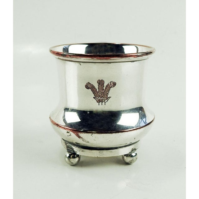 Early 20th Century Silver Plate Holder or Cup Engraved With Price of Wales Badge For Sale - Image 5 of 5