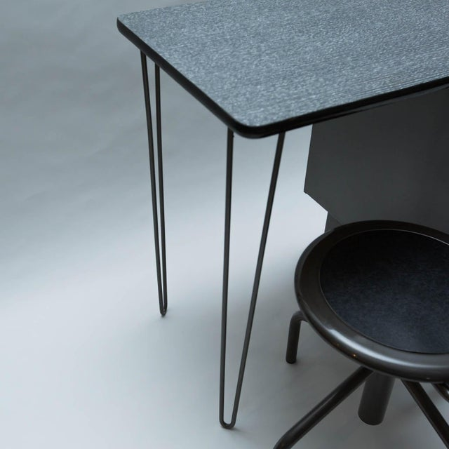 Vintage Metal Student Desk and Swivel Chair - Image 4 of 11