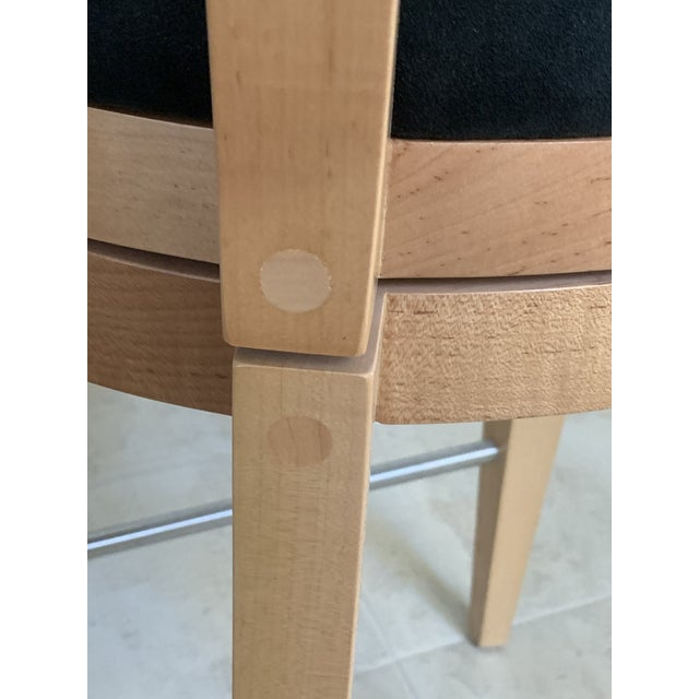 Contemporary Honey Maple & Black Suede Swivel Bar Stools by Berman Rosetti - a Pair For Sale - Image 9 of 12