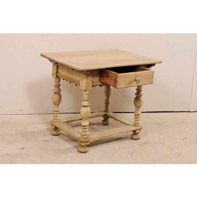 18th Century Swedish Period Baroque Wood Side Table on Turned Legs For Sale In Atlanta - Image 6 of 12