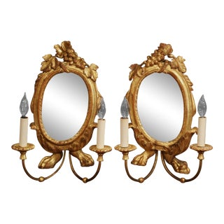 Pair of 19th Century Italian Carved Giltwood Two-Light Sconces With Grape Motif For Sale