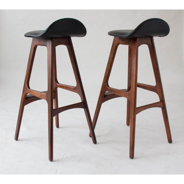Erik Buch for O.D. Møbler Rosewood & Leather Bar Stools- A Pair - Image 6 of 6