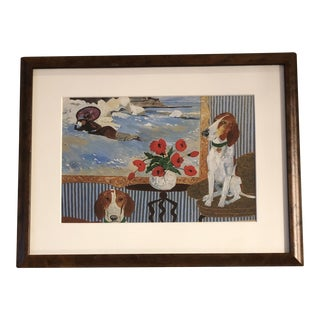Contemporary FoxHound Dog Print by Artist Judy Henn Burled Wood Frame For Sale