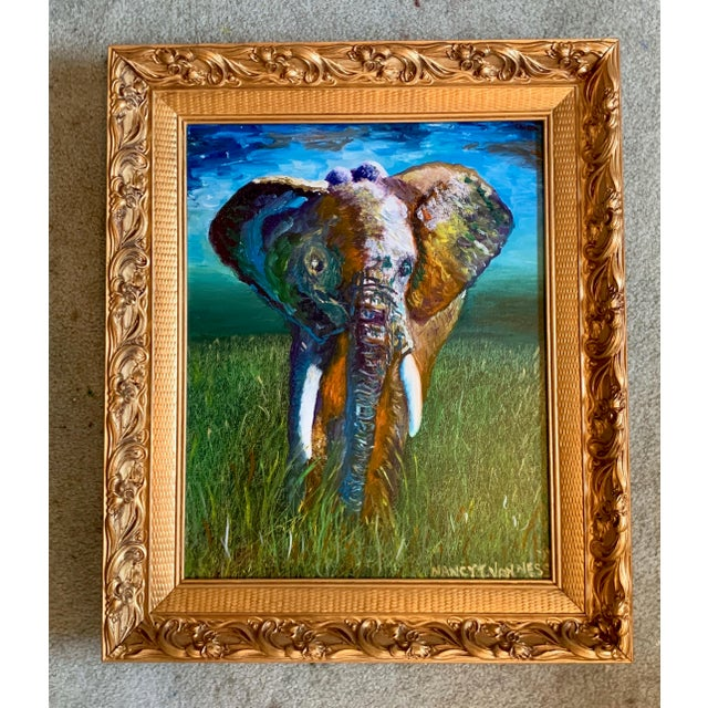Original Oil Painting of Elephant, Framed For Sale - Image 11 of 11