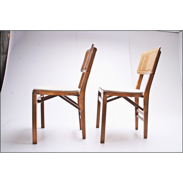 Stakmore Company Mid Century Modern Stakmore White Vinyl Wood Folding Chairs - A Pair For Sale - Image 4 of 11
