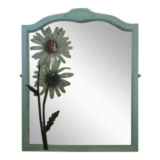 Vintage Daises Wood Framed Mirror For Sale
