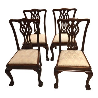 1880 Antique Chippendale Dining Chairs - Set of 4 For Sale