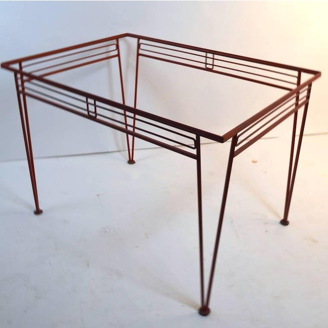 Nice Modernist patio, garden wrought iron dining table attributed to Salterini. This example is selling without the glass...