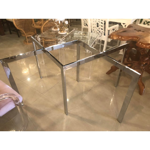 Milo Baughman Vintage Milo Baughman Thayer Coggin Chrome Dining Table For Sale - Image 4 of 12