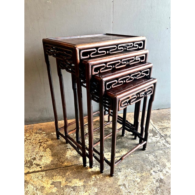 Chinese Rosewood Nesting or Quartetto Tables - Set of 4 For Sale - Image 10 of 10
