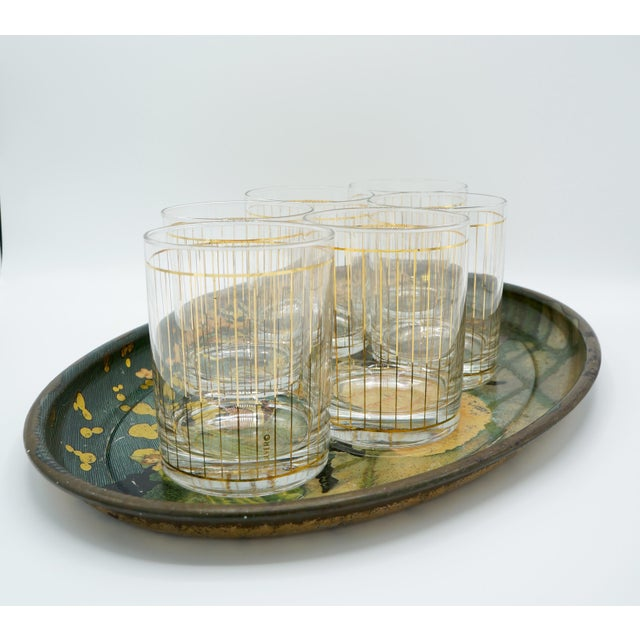 Golden Pinstriped Low Ball Cocktail Glasses (6) & Champagne Bucket With Bar Tools For Sale - Image 9 of 13