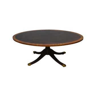 Americana Kindel Oxford Mahogany Oval Inlaid Banded Coffee Table