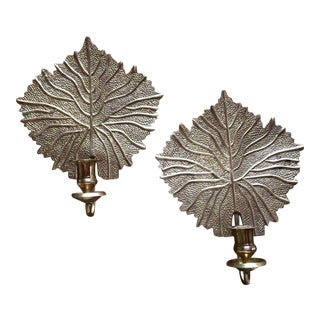 Vintage Mid Century Rosenthal Netter Brass Leaf Candle Sconce- A Pair For Sale