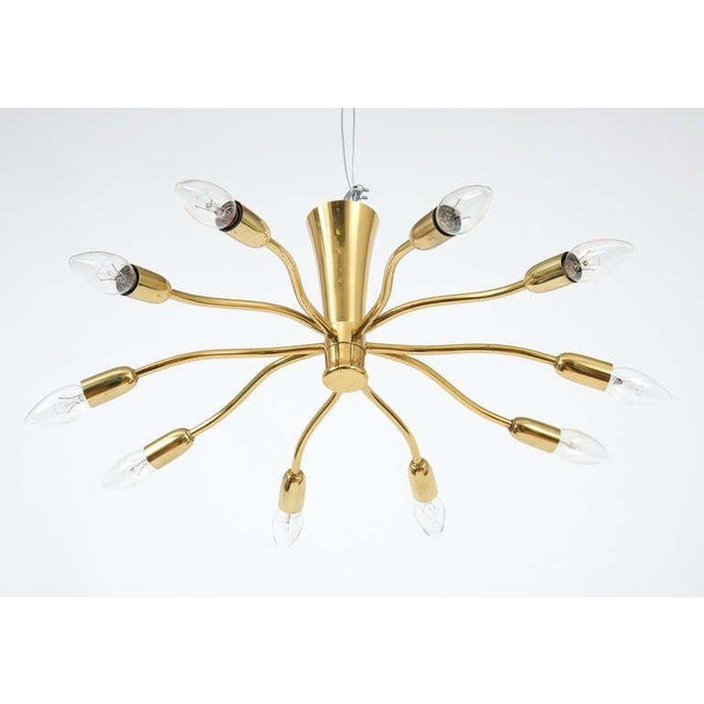 Mid-Century Modern J.T Kalmar Brass Sputnik Scorpio Chandelier Ceiling Lamp Light, 1950 For Sale - Image 3 of 7