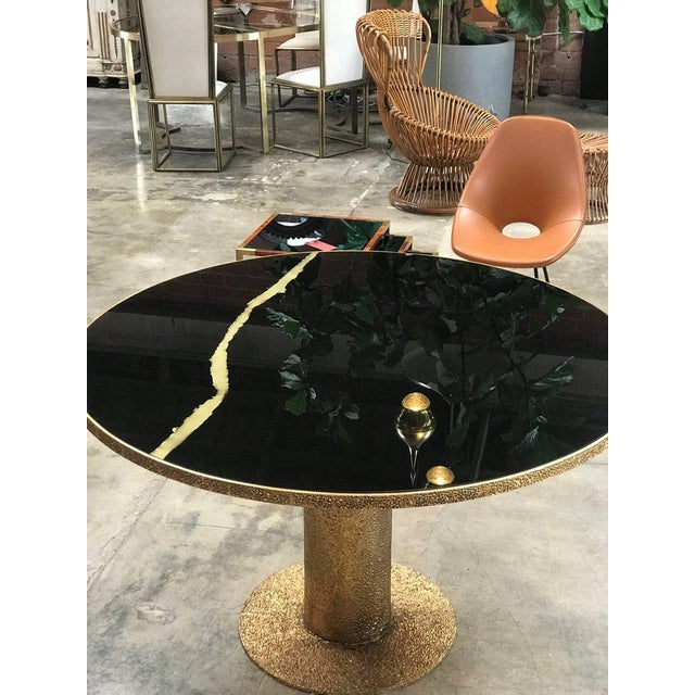 Round Brass and Glass Dining Table, Italy For Sale - Image 5 of 8