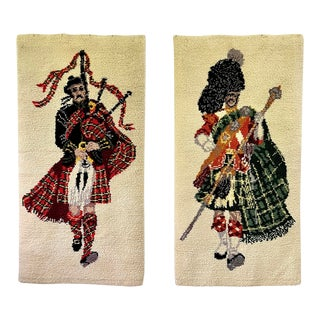 Large Pair of Scottish Tartan Pipe Band Tapestries For Sale