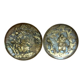 Pair of Antique Bronze Asian Plates, Signed by the Artist For Sale