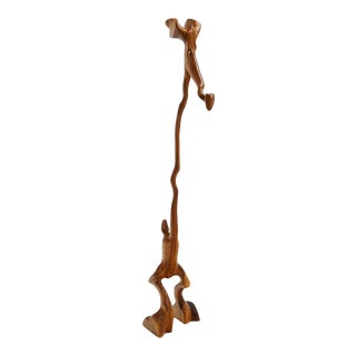 Tall Danish Teak Animal Sculputure by Knud Albert, Denmark. Signed. For Sale